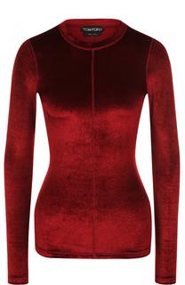 Бархатный приталенный пуловер Tom Ford