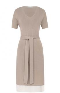 Приталенное платье с поясом BOSS