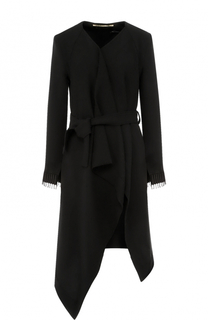 Шерстяное пальто асимметричного кроя с поясом Roland Mouret