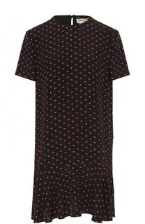 Шелковое платье с принтом Saint Laurent