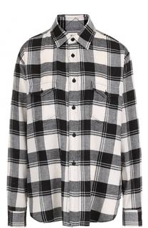 Хлопковая блуза в клетку с накладными карманами Saint Laurent