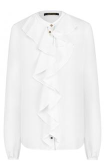Шелковая блуза прямого кроя с оборками Roberto Cavalli