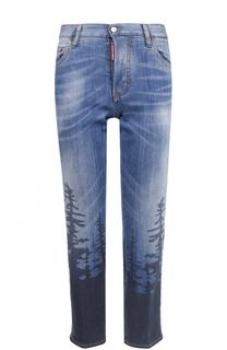 Укороченные джинсы прямого кроя с принтом Dsquared2