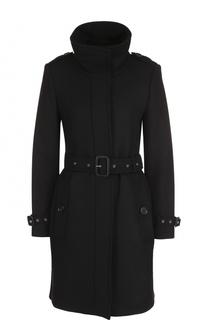 Шерстяное однобортное пальто с поясом Burberry