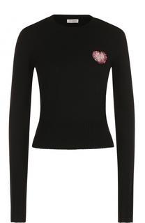 Шерстяной приталенный пуловер с аппликацией Saint Laurent