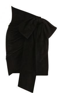 Замшевая мини-юбка с бантом Saint Laurent
