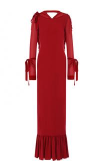 Шелковое платье-макси с оборками и бантами Tom Ford