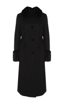 Вязаное пальто с отделкой из меха норки Kiton