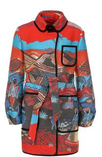 Приталенное пальто с вышивкой и поясом Giorgio Armani