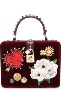 Бархатная сумка Dolce Box с аппликациями Dolce & Gabbana
