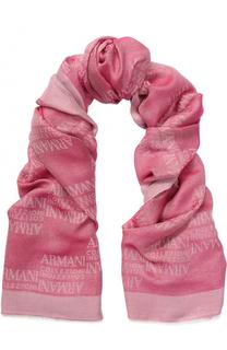 Шарф из смеси вискозы и модала с логотипом бренда Armani Collezioni