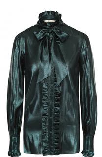 Шелковая блуза с оборками и бантом Bally