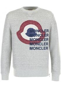 Хлопковый свитшот с контрастной отделкой Moncler