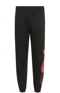 Хлопковые брюки прямого кроя с манжетами на резинке Marcelo Burlon
