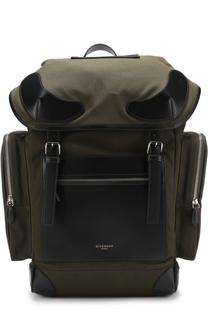 Текстильный рюкзак с клапаном и внешними карманами на молнии Givenchy