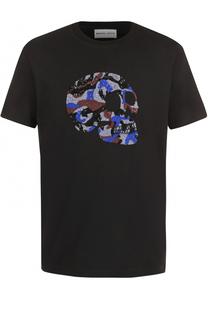Хлопковая футболка с контрастной отделкой Markus Lupfer