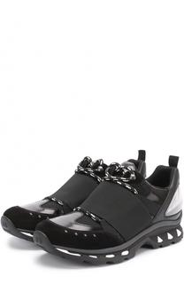 Комбинированные кроссовки на шнуровке с декоративной резинкой Givenchy