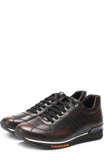 Кожаные кроссовки на шнуровке A. Testoni