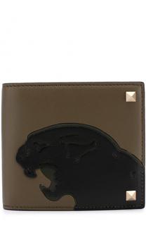 Кожаное портмоне с аппликацией и отделениями для кредитных карт Valentino