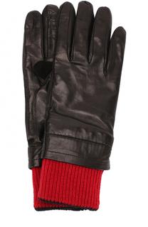 Кожаные перчатки с контрастными шерстяными манжетами Ami
