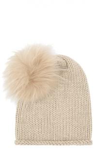 Кашемировая шапка с меховым помпоном Inverni
