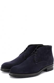 Высокие замшевые ботинки на шнуровке Brioni