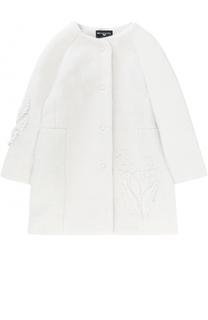 Пальто с круглым вырезом и аппликациями Monnalisa