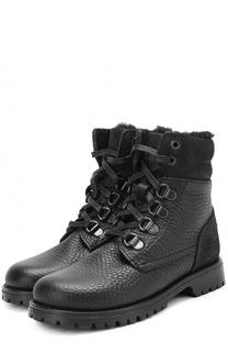 Кожаные ботинки на шнуровке с молнией Dolce & Gabbana