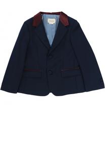 Однобортный пиджак с контрастной отделкой Gucci
