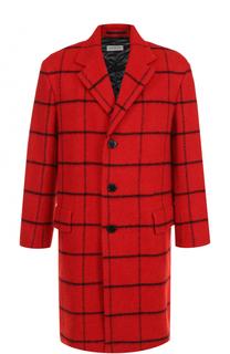 Шерстяное однобортное пальто в клетку Dries Van Noten