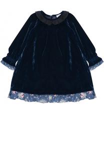 Платье-миди свободного кроя с оборками Monnalisa