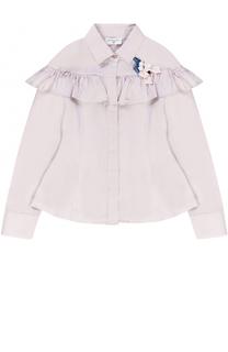 Блуза с оборкой и декоративной брошью Monnalisa