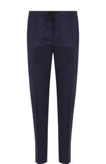 Шерстяные брюки прямого кроя с поясом на кулиске Kenzo
