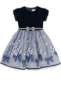 Платье-миди с вышивкой и поясом Monnalisa