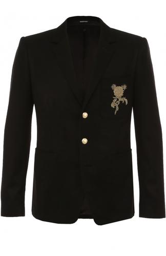 Однобортный кашемировый пиджак с вышивкой Alexander McQueen