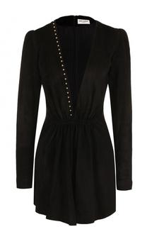 Замшевое мини-платье с глубоким вырезом Saint Laurent