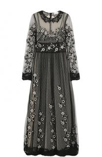 Платье-макси с кружевной отделкой и вышивкой REDVALENTINO
