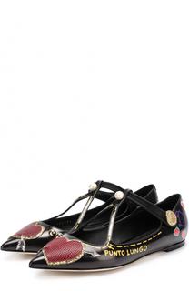 Кожаные балетки с аппликациями Dolce & Gabbana