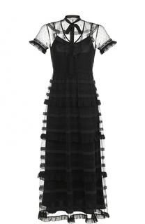 Платье-макси с кружевной отделкой REDVALENTINO