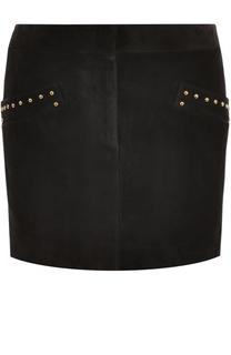 Замшевая мини-юбка с заклепками Saint Laurent