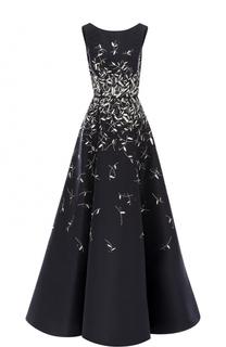 Шелковое платье с вышивкой и оборками Oscar de la Renta