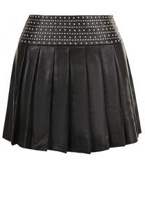 Кожаная мини-юбка с заклепками Alice + Olivia