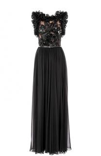 Шелковое платье с вышивкой и оборками Elie Saab