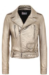 Кожаная куртка с косой молнией REDVALENTINO