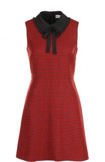 Приталенное платье с бантом без рукавов REDVALENTINO