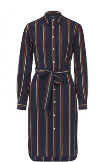 Шелковое платье-миди с поясом Polo Ralph Lauren