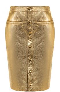 Кожная юбка-карандаш на пуговицах Saint Laurent