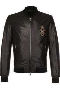 Кожаный бомбер на молнии с вышивкой Dolce & Gabbana