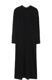 Приталенное платье-миди с длинным рукавом Burberry
