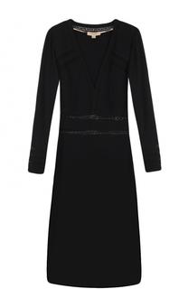 Приталенное платье-миди с полупрозрачными вставками Burberry